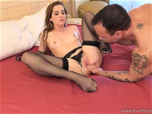 Kasey Warner takes off Off stocking and Gets pummeled stiff