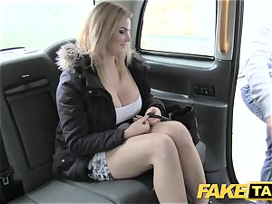 faux taxi gigantic congenital titties on towheaded model