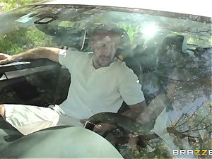 Hopeful driver Sara Luvv porks her driving schoolteacher