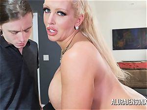 enormous melon porn industry star Alura Jenson plows a strung up junior fellow