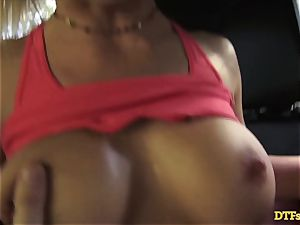 James Deen takes milf Cherie Deville for a ride on his shaft in the car