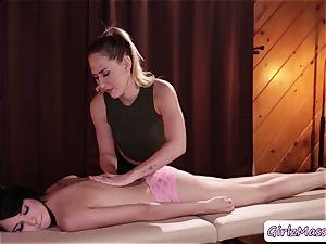 massagist Carter Cruise puts yoni eggs Cadey Mercurys cunt and licks it
