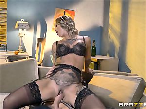 tatted Kleio Valentien taking each inch of a large manhood