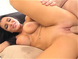 sultry sweetheart Romi Rain slit pumped