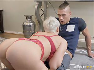 super-naughty blonde caught catching a cumload
