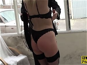 corded british gimp doggystyled before oral pleasure