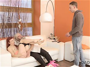 DADDY4K. dirty stud thumbs girlfriend for cuckold on him with wild daddy