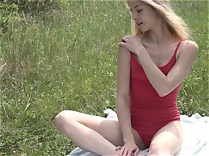 glamorous girl On Meadow