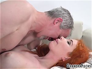 Ginger nubile pummels gramps