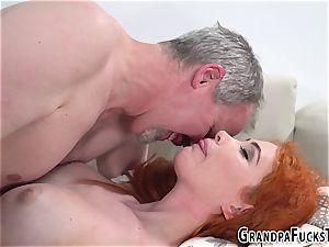 Ginger nubile pummels gramps