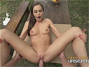 incredibly fit brunette cutie luvs to get mischievous in public