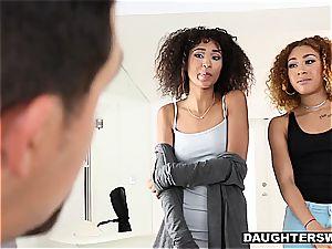 ebony nubile BFFS get to pummel their strung up dads