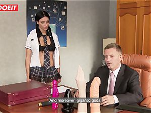 kinky school woman puts all Kind of Things in Her bum