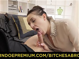 tramps ABROAD - dark haired tourist minx rides large chisel