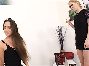 superb hottie Amirah Adara and tattooed dame Misha Cross plays with their dildos