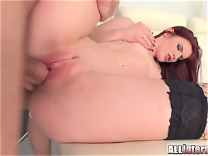 Tall dame Mira's vulva is penetrated and packed with jizm