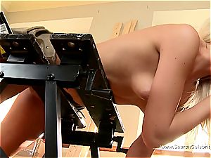 adorable blondie Andrea Francis deep-throating trunk with her mounds out