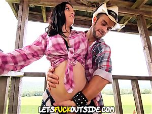 Lets pulverize Outside - Cowgirl boned rigid on the Farm