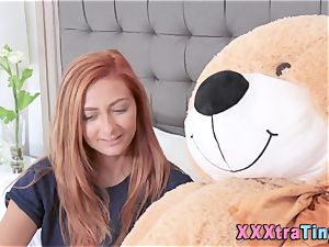 Redheaded teenager blows