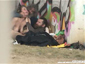 Homeless three-way Having intercourse on Public