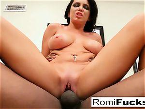 Romi Rain takes on a hefty dark-hued chisel!