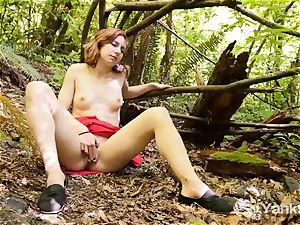 slender Anja jerking Outdoors