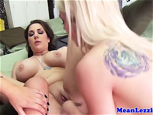 three lezzie domination dykes overpower one babe