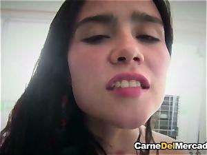 CarneDelMercado - ebony haired Colombian stunner slurps jizz
