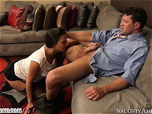 big-boobed secretary Rachel Starr seduces her married boss