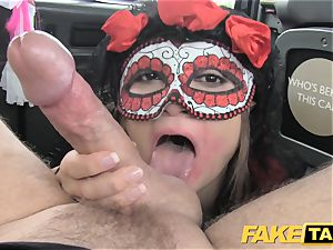 fake taxi girl in mask gets pulverized in the caboose