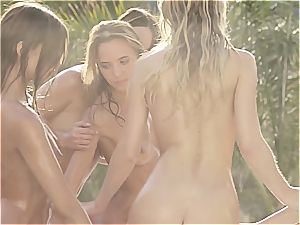 six awesome Eurobabes oiling up by the pool