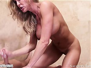busty mummy Brandi enjoy with humungous titties seduces her stepson in the douche