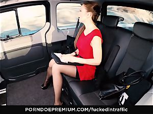 ravaged IN TRAFFIC Tina Kay footjob in the backseat