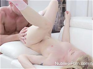 Nubiles porno - jizz cascading down platinum-blonde cuties face