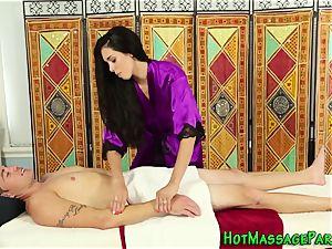 massagist cougar gets jism