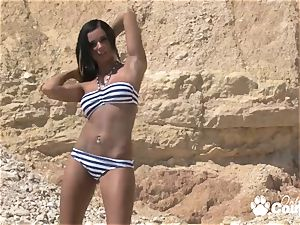 hefty globes Ashley Bulgari undress dance on beach