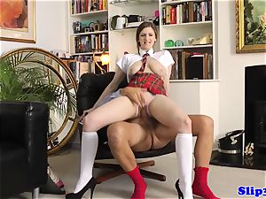 enticing college girl riding oldmans prick