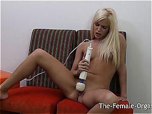 fabulous towheaded masturbates passionately to get to the climax