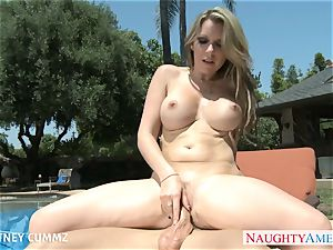 big-chested blond Courtney Cummz pound at poolside