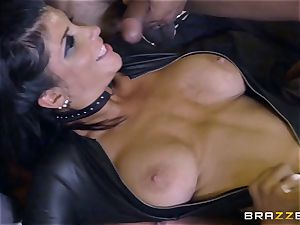harsh in rubber Romi Rain gets ravaged by 3 molten cocks