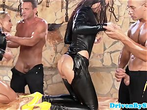 elegant 4 way cocksluts booty-fucked and jizzswapping