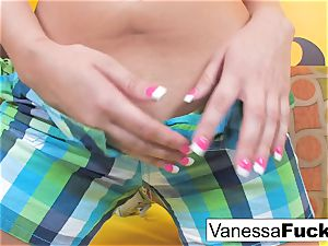Vanessa determines To smash Her tight tiny vagina