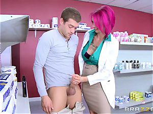 unexperienced fellow pulverizes sumptuous big-boobed nurse Anna Bell Peaks in the pharmacy