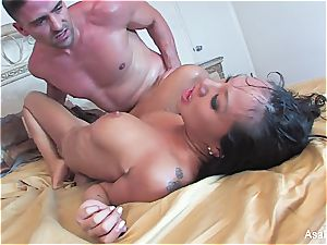 sweetie Asa Akira sucking and jamming big man rod