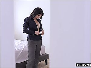 big-boobed mother enjoys to taste her stepson's morning stiffy