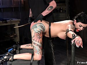 busty alt dark-haired in chains gets fisted