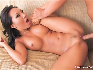 super stellar Asa Akira bangs on the sofa