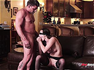 steamy blindfolded wifey doggystyled
