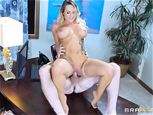 Cali Carter nailed throughout her desk