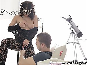 dark-haired in undergarments paws with her fucktoys before anal screwing